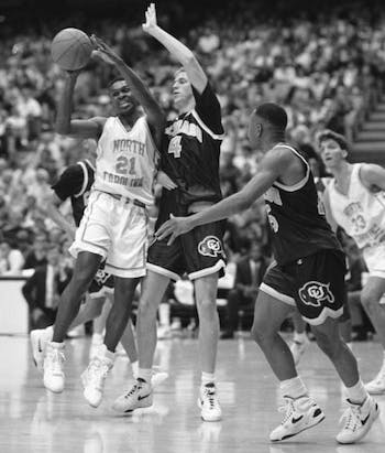 Donald Williams, pictured here in a game against Colorado, helped lead the Tar Heels to a national championship in 1993. Courtesy of Wilson Library.