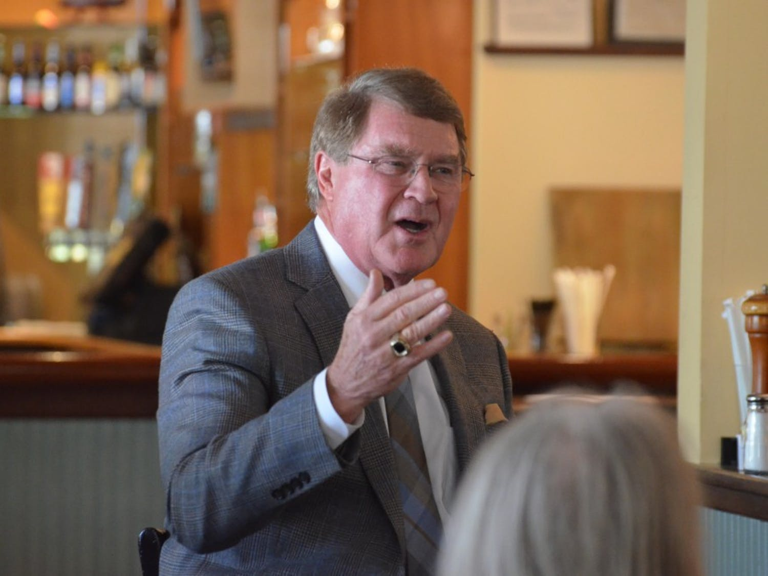 ACC Commissioner John Swofford speaks to members of the Chapel Hill Sports Club at Squid's Restaurant, Market and Oyster Bar on Feb. 21, 2018 in Chapel Hill.