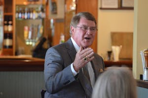 ACC Commissioner John Swofford spoke to members of the Chapel Hill Sports Club at Squid's Restaurant, Market and Oyster Bar on Feb. 21 in Chapel Hill.