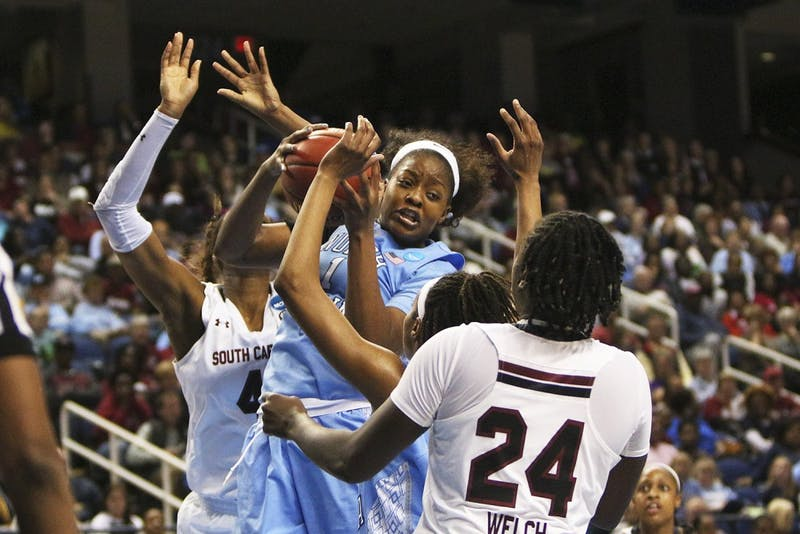 The UNC women's basketball team lost 67-65 to South Carolina in the Sweet 16 in Greensboro Friday. Stephanie Mavunga (1) led the Tar Heels with 13 rebounds.