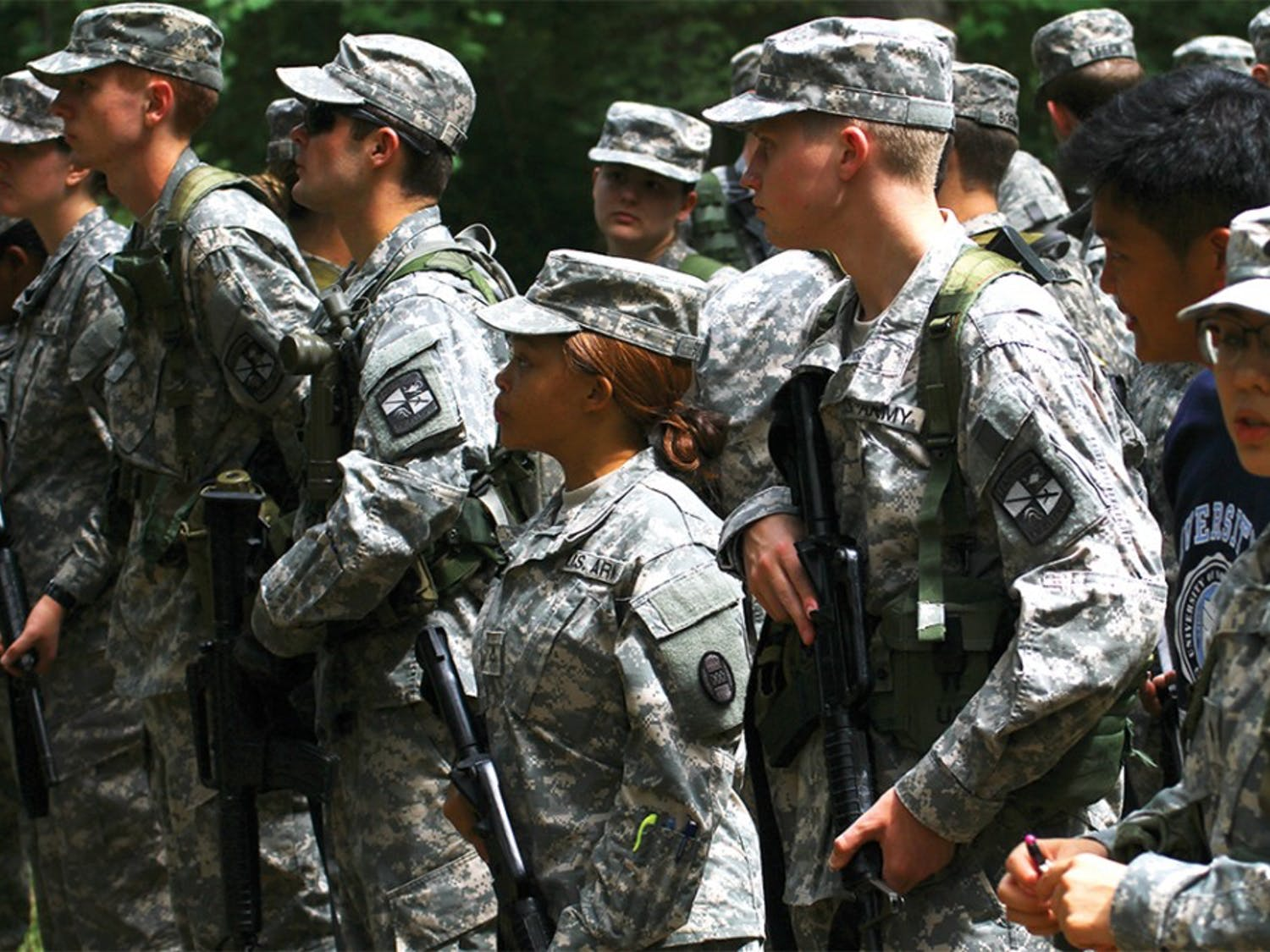 ROTC students get ready for practice on Wednesday, Sept. 16.