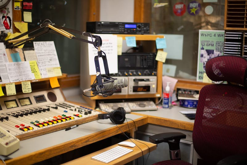 The WXYC station sits empty before a broadcast.
