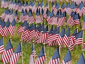 Flags placed on the Braintree Town Common in honor of those killed on 9/11. Of the nearly 3,000 flags, 2,574 American flags represent the civilians and military personnel who died in the attacks on the World Trade Center, the Pentagon and Shanksville, Pennsylvania. Photo Courtesy of Tribune News Service.