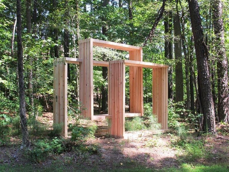 Bench VI created by Matthias Neumann on display at the Chapel Hill Library sculpture trail. Courtesy of Matthias Neumann.