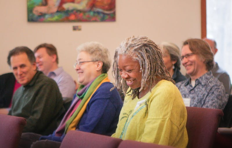 Vibrance Heartfelt (foreground) laughs with fellow Unity Center of Peace congregants. The center will celebrate the legacy of Martin Luther King Jr. on Jan. 19, 2020. Photo courtesy of Unity Center of Peace.