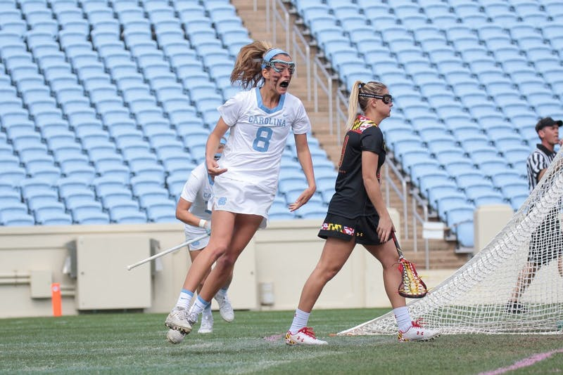 Katie Hoeg (8) celebrates a goal against no. 1 Maryland on Saturday, Feb. 24.