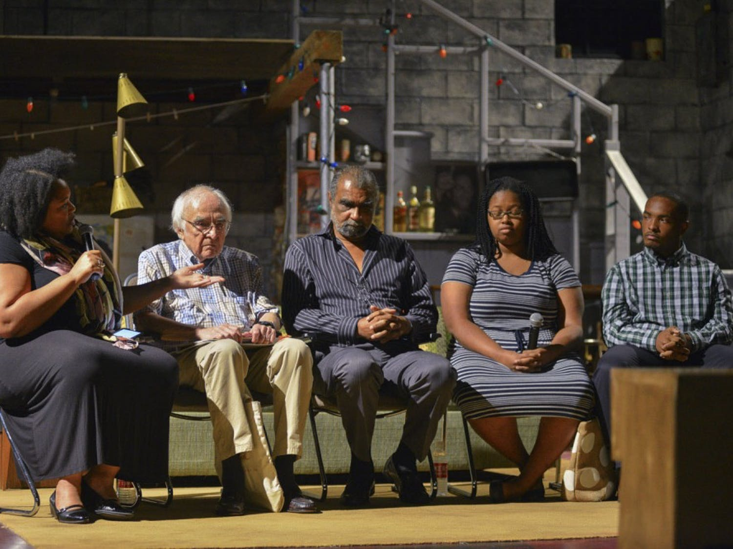 "Jacqueline E. Lawton,  Philip Meyer, Perry A. Hall, Ariana Rivens and Brandon Yelverton participate in a group discussion about race relations in America. The discussion took place immediately following a showing of ""Detroit '67"" in The Center for Dramatic Art on Saturday, October 1st."