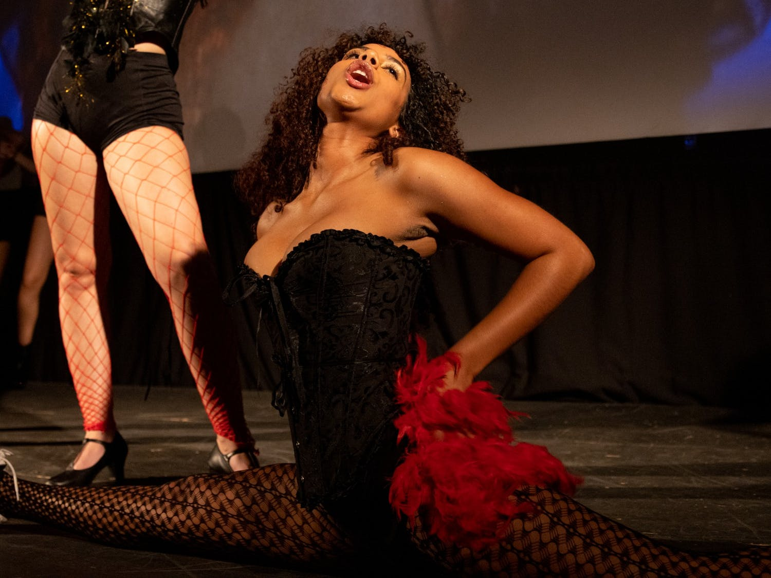 UNC junior Tiffany Melenzio portrays Rocky during an Oct. 26 technical rehearsal of the Rocky Horror Picture Show at the Varsity Theatre. The production is an annual tradition of the UNC Pauper Players.