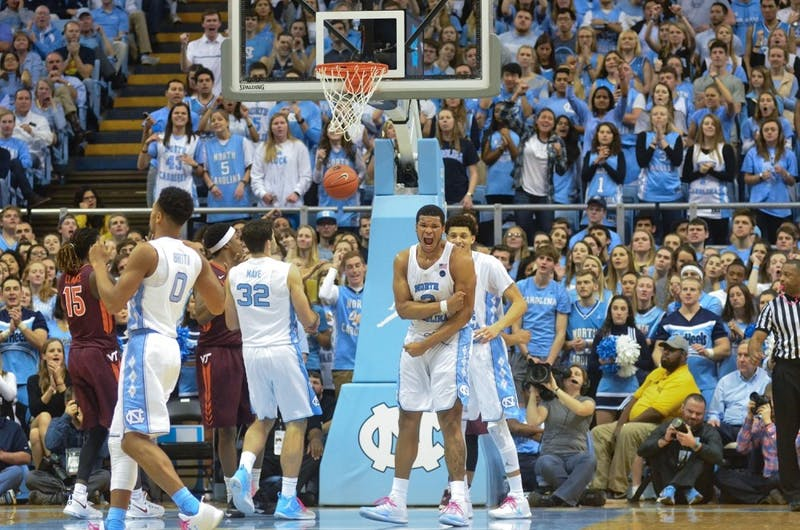 Former North Carolina forward Kennedy Meeks (3) celebrates a shot against Virginia Tech on Jan. 26.
