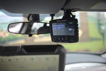 A dash camera inside Officer Steve Dixon's police car. The Carrboro Police Department recently drafted a new policy requiring all officers to wear body cameras.