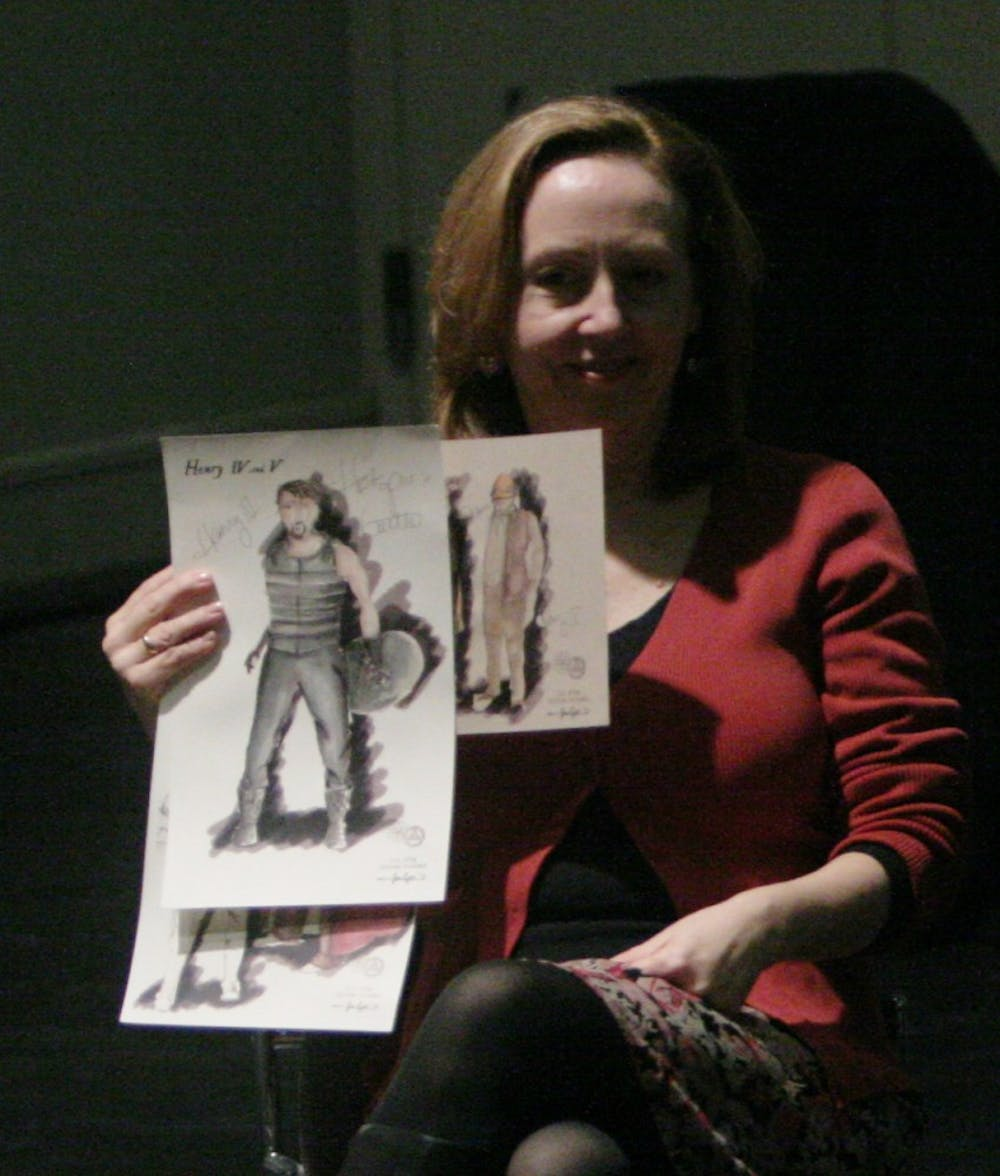 Set designer Jan Chambers, Costume designer Claire Fleming (?), and Director Mike Donahue show costume designs for Henry IV