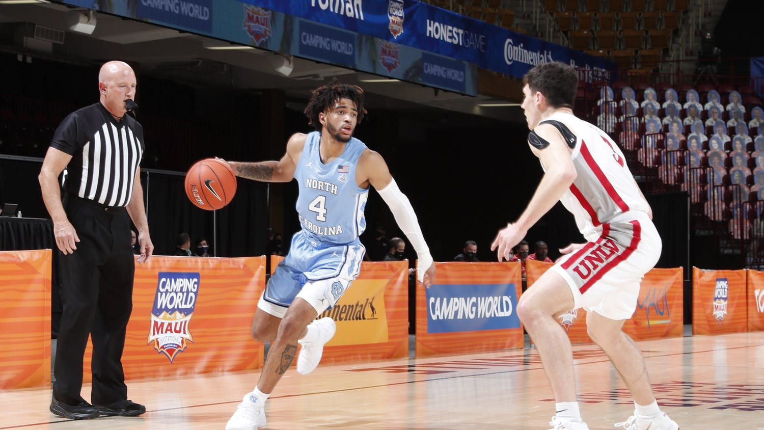 UNC first year guard RJ Davis (4) dribbles the ball during the first round of the Maui Invitational Tournament against UNLV on Monday, Nov. 30, 2020 in Asheville, N.C. UNC beat UNLV 78-51. Photo courtesy of Brian Spurlock/Camping World Maui Invitational.