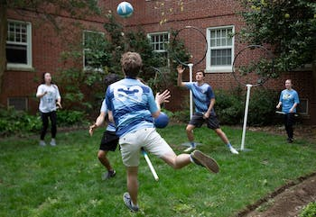 "The Carolina Quidditch team plays outside Cobbwarts, an event hosted in Cobb Dorm by the Residence Hall Association on April 6, 2019. ""So there's this Cobbwarts event going on and, you know, of all the people on campus, we really like Harry Potter,"" said Sam Nielsen (63), a junior economics and computer science major."