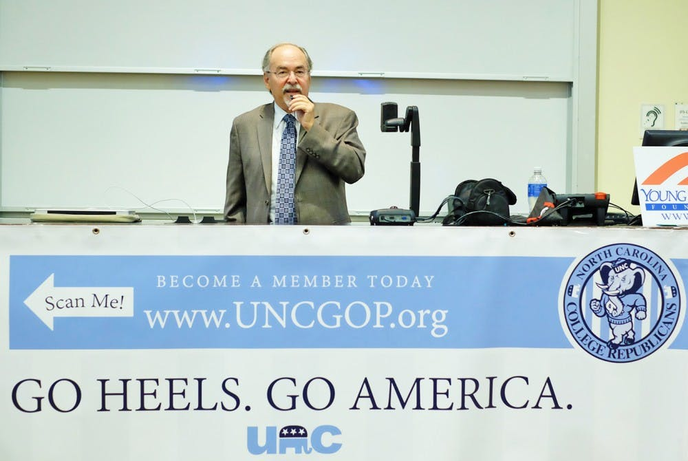 <p>The UNC College Republicans hosted David Horowitz, who spoke on theIsraeli-Palestinianconflict and anti-semitism, Monday night in Carroll Hall.</p>