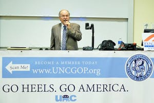 The UNC College Republicans hosted David Horowitz, who spoke on the Israeli-Palestinian conflict and anti-semitism, Monday night in Carroll Hall.