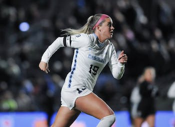 Junior forward Alessia Russo (19) charges towards the ball in the ACC women's soccer semifinal match on Friday, Nov. 8, 2019 against NC State. UNC beat State 3-0.