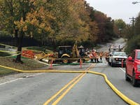Jones Ferry Road is closed between Bim Street and Barnes Street in Carrboro while crews are on site working on a main water line break Monday, Nov. 5, 2018.