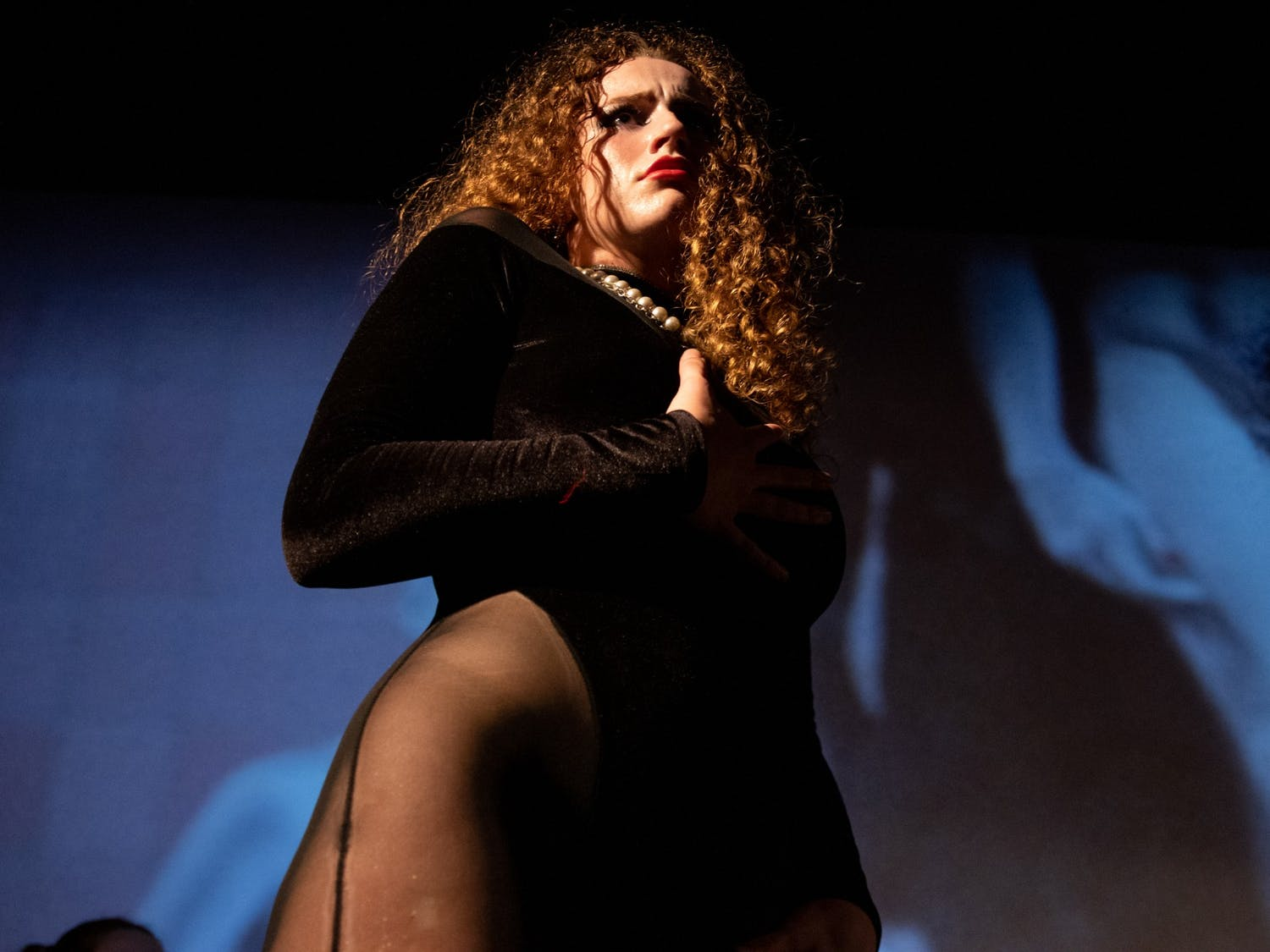 UNC senior Olivia Sullivan portrays Dr. Frank-N-Furter during an Oct. 26 technical rehearsal of the Rocky Horror Picture Show at the Varsity Theatre. The production is an annual tradition of the UNC Pauper Players.