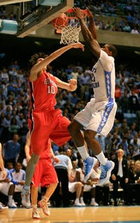 """Deon Thompson has improved offensively and defensively in recent games"""" and his play against Clemson?s Trevor Booker was key to the UNC victory."""