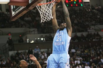 Deon Thompson slams one of his four field goals Saturday in North Carolina's win against Mississippi State. DTH/Jordan Lawrence