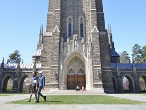 The Duke University Chapel on Duke's West Campus, as photographed in 2017, serves as a symbol of the university.