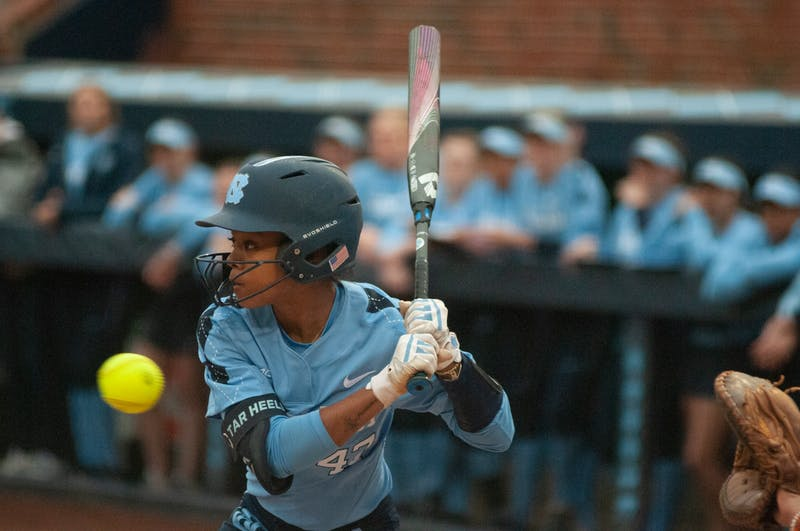Freshman Destiny Middleton recieves a pitch in Williams Feild on Feb. 12, 2020. This was the team's first home game of the season, kicking them off with a 3-2 record.