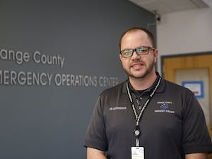Kirby Saunders is the emergency management coordinator for Orange County. He is responsible for coordinating Orange County's preparation for and response to emergency situations and is leading efforts to assist those who have been affected by Hurricane Florence.