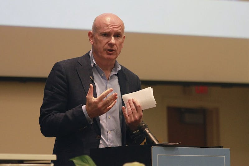 Gerard Baker, editor-in-chief of the Wall Street Journal, gives a moving speech on the importance of business journalism to current students as a part of the Nelson Benton Lecture Series.
