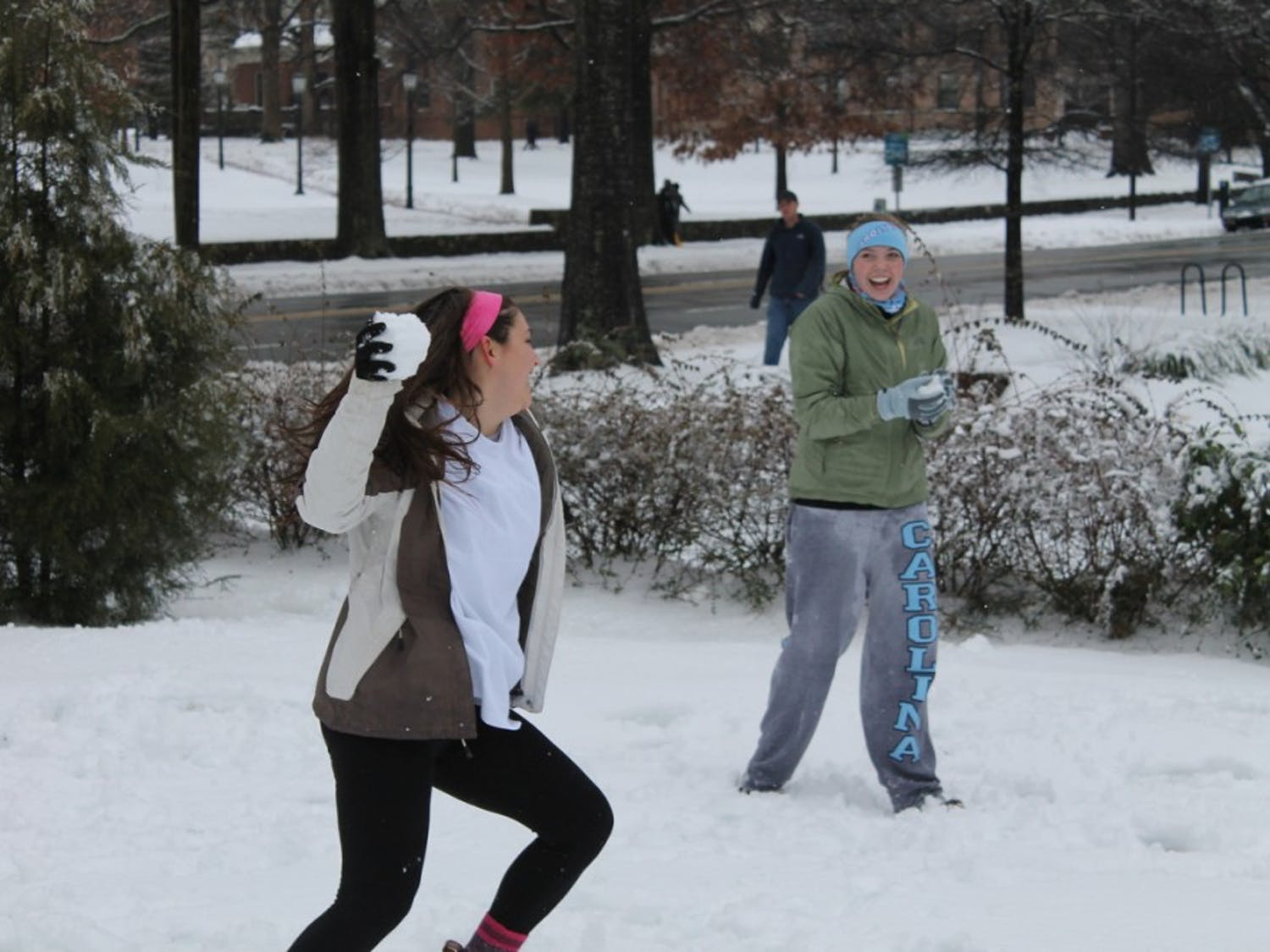Snow cancelled classes again at UNC on Thursday. Snow cancelled classes again at UNC on Thursday. After sleet and freezing rain fell all Wednesday night, more snow fell on Thursday afternoon.