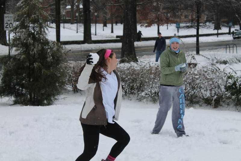 Snow cancelled classes again at UNC on Thursday. After sleet and freezing rain fell all Wednesday night, more snow fell on Thursday afternoon.