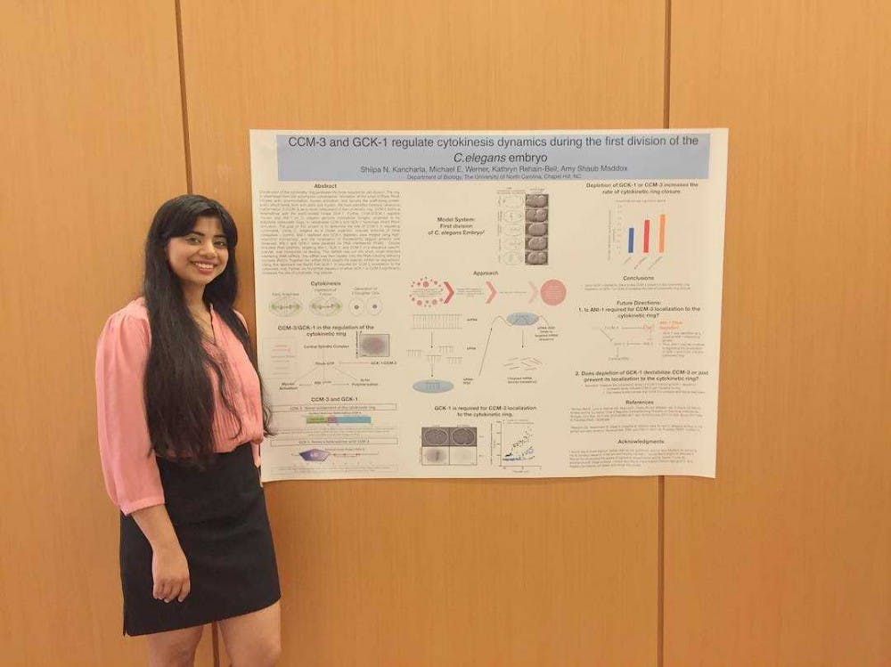 Senior Shilpa Kancharla presents her junior year project on the dynamics of cytokinesis. Photo courtesy of Kancharla.