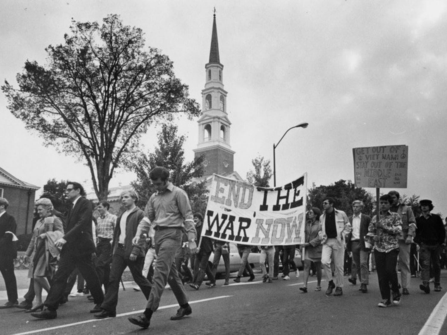 Activists participate in anti-war demonstrations on Franklin Street in October of 1969. Photo courtesy of Wilson Library Archives.