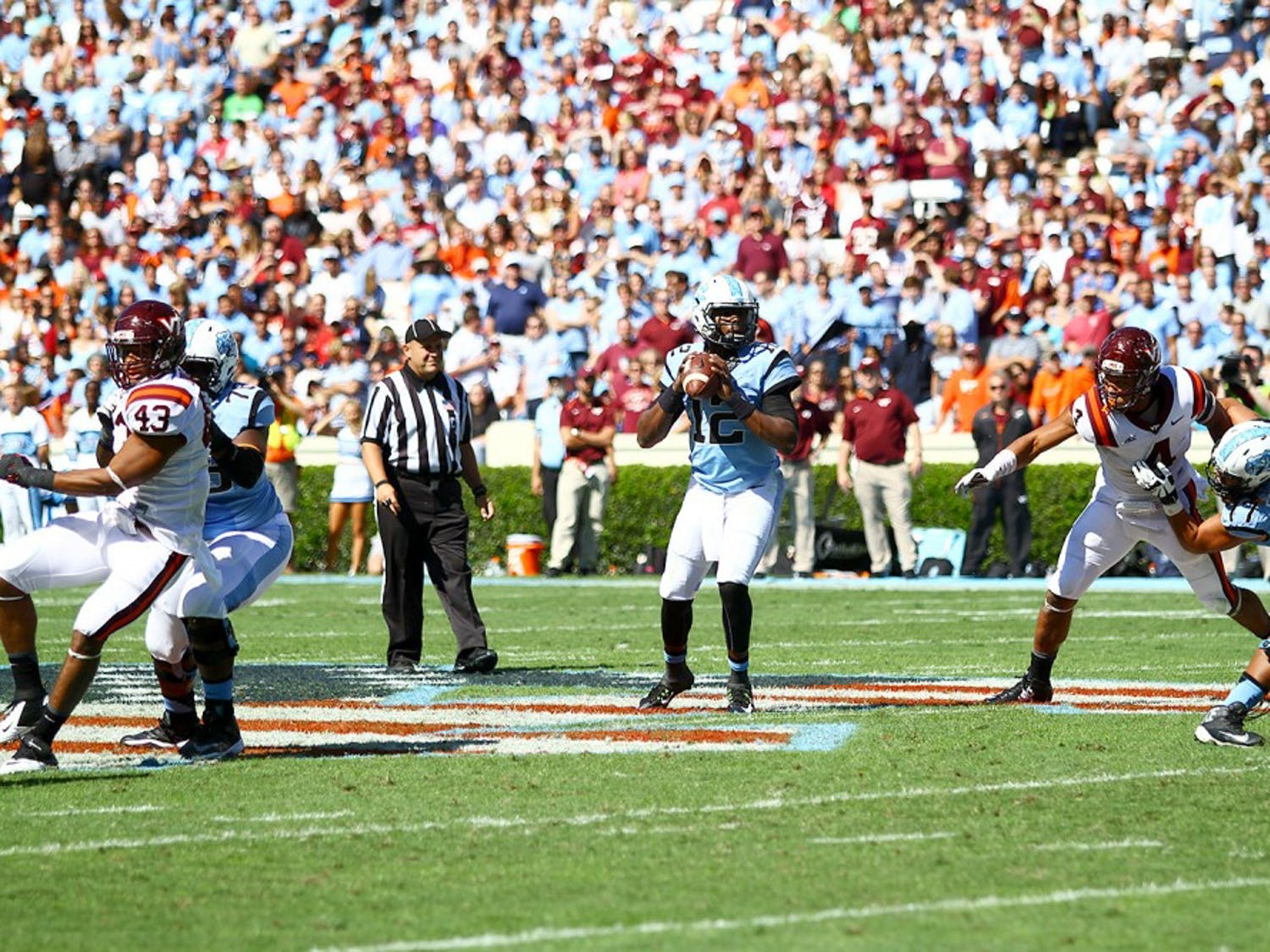 Marquise Williams looks for a receiver down the field during Saturday's 34-17 loss against Virginia Tech.