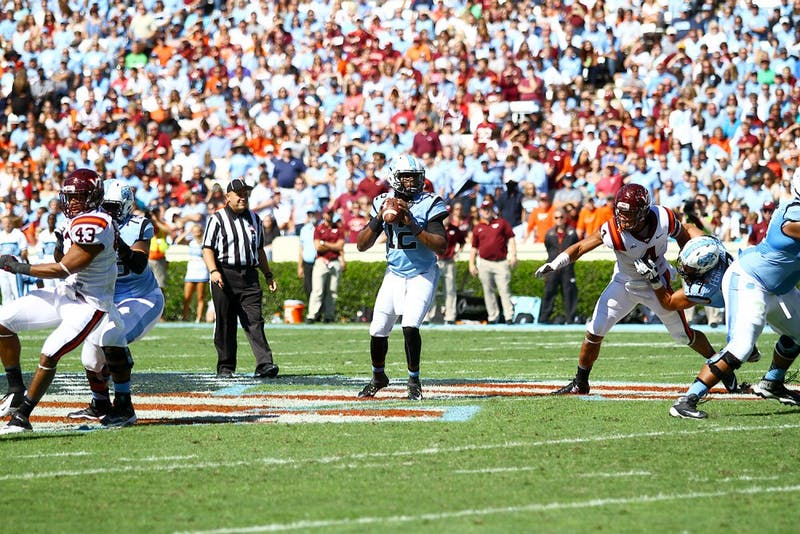 Marquise Williams looks for a receiverdown the field during Saturday's 34-17loss against Virginia Tech.