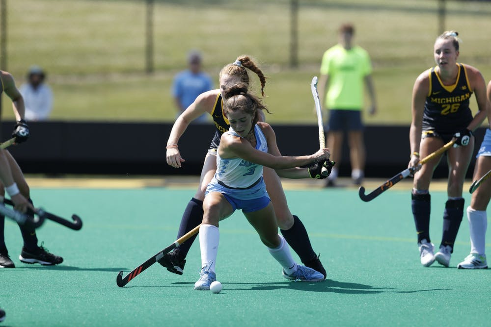 UNC senior forward Hannah Griggs (3) runs with the ball at the ACC-Big Ten Challenge game against Michigan on Aug 27 in Iowa City, Iowa. UNC lost 2-3. Photo courtesy of Iowa Athletics.