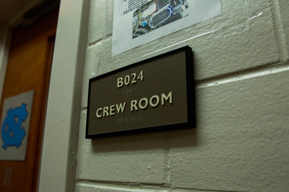 <p>The women's rowing practice room is located in the basement of Woollen Gym, pictured on Monday, Dec. 2, 2019. Head coach Sarah Haney resigned in the midst of a Title IX investigation into the program.</p>