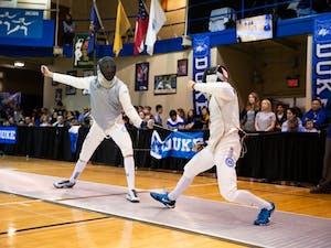 Connor Costa against Duke University on Saturday February 9, 2019 at Duke University's Card Gym.