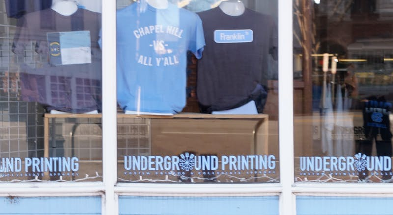 Underground printing, one of the UNC apparel and sportswear stores on Franklin Street, on Tuesday, Feb. 11, 2020.