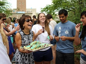 The General Alumni Association hosted the annual Senior Belltower Climb on Tuesday. Chancellor Folt stopped by to hand out cookies to those waiting in line and do the climb as well.