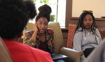 UNC students,  Nagwa Nakuna and Amu Muyanga, discuss matters on race in an activism conference hosted by UNC's Black Congress.