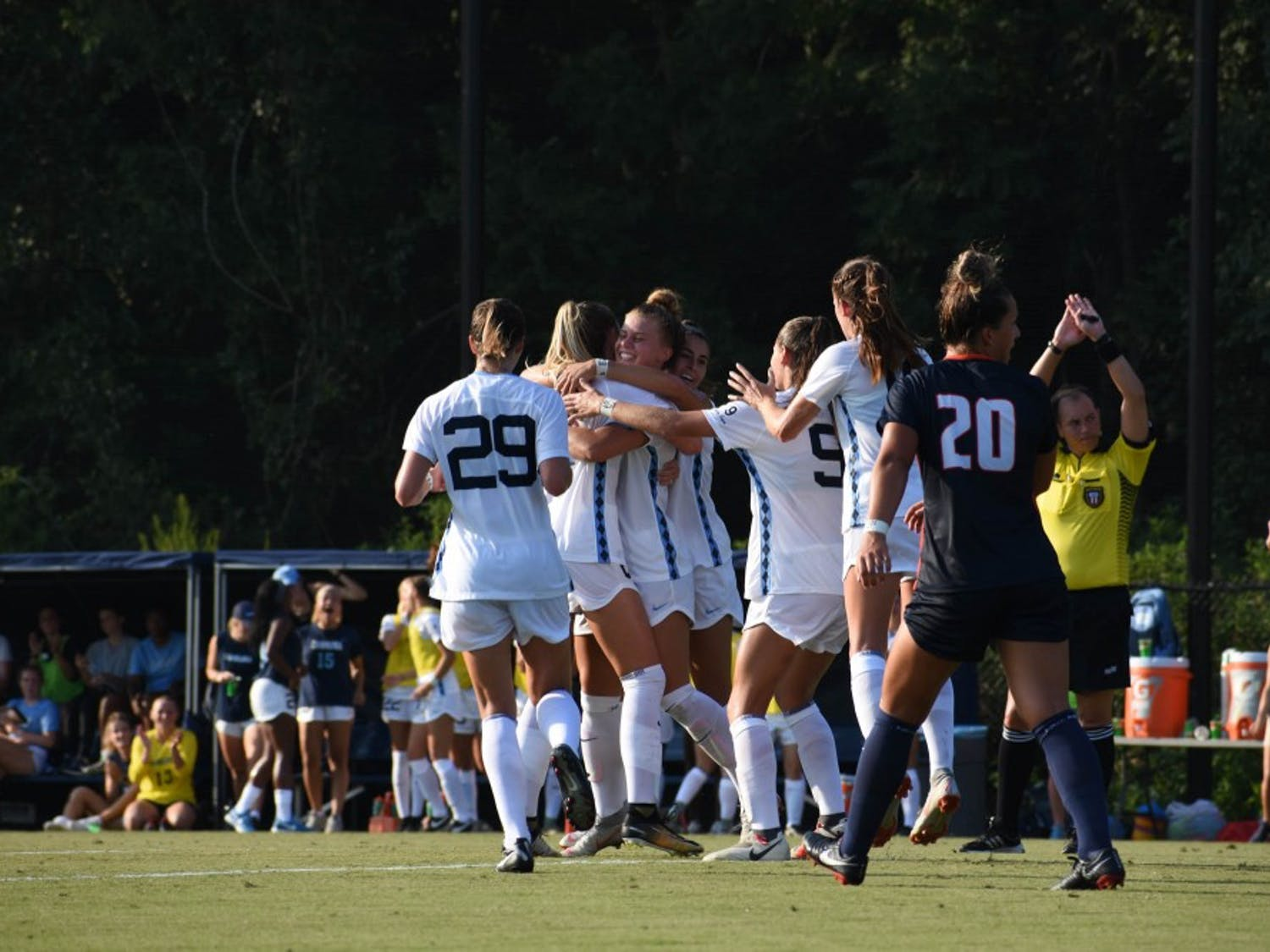 UNC celebrates after scoring a goal during its 3-1 win over Illinois on Aug. 16 in Chapel Hill.