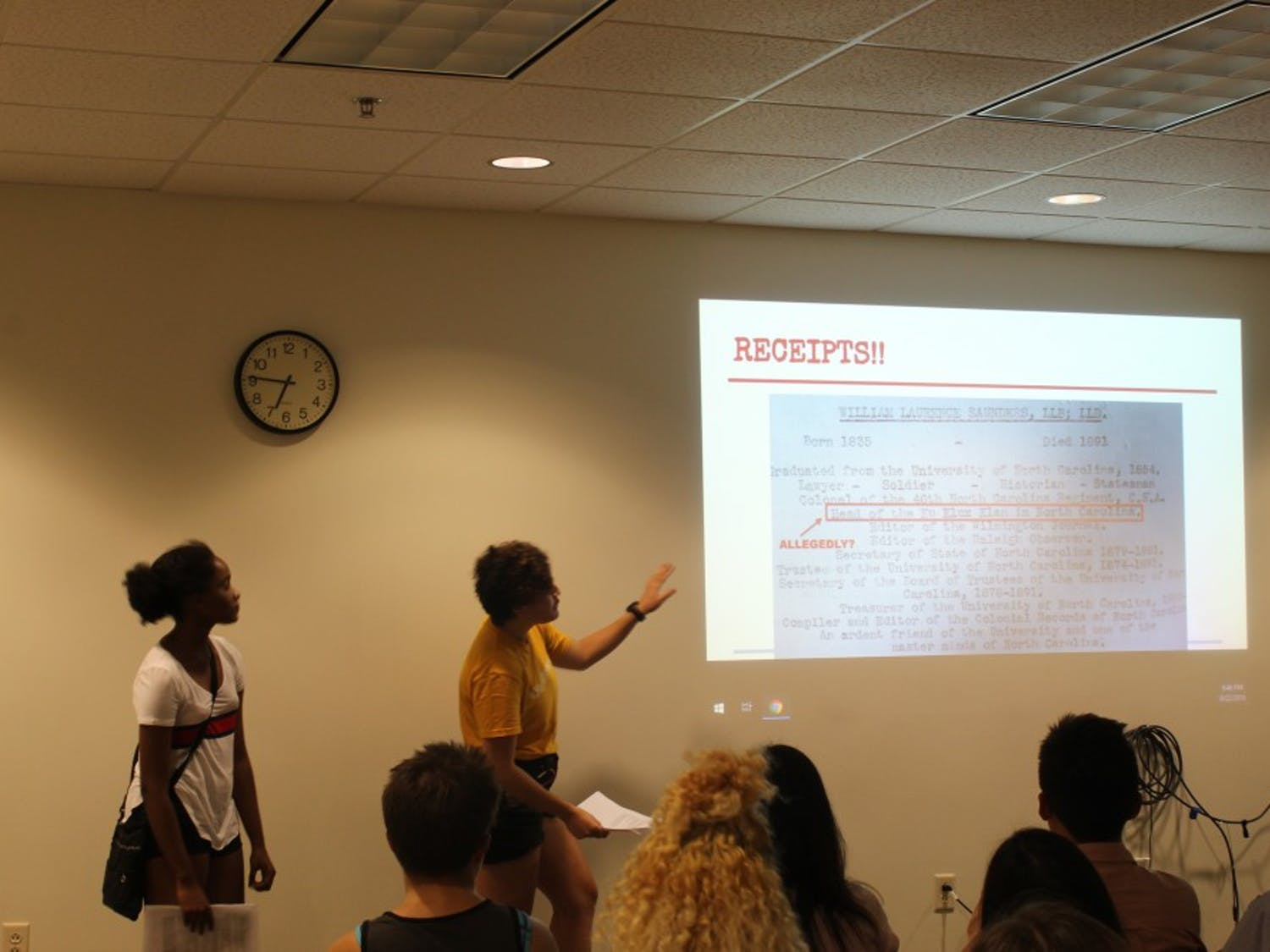 """UNControllables, a radical political group, hosted """"What UNC Doesn't Want You to Know: Inside the University's dirty history of exploitation, scandal, and racism"""" Aug. 22 in the Student Union."""
