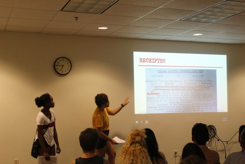 "UNControllables, a radical political group, hosted ""What UNC Doesn't Want You to Know: Inside the University's dirty history of exploitation, scandal, and racism"" Aug. 22 in the Student Union."