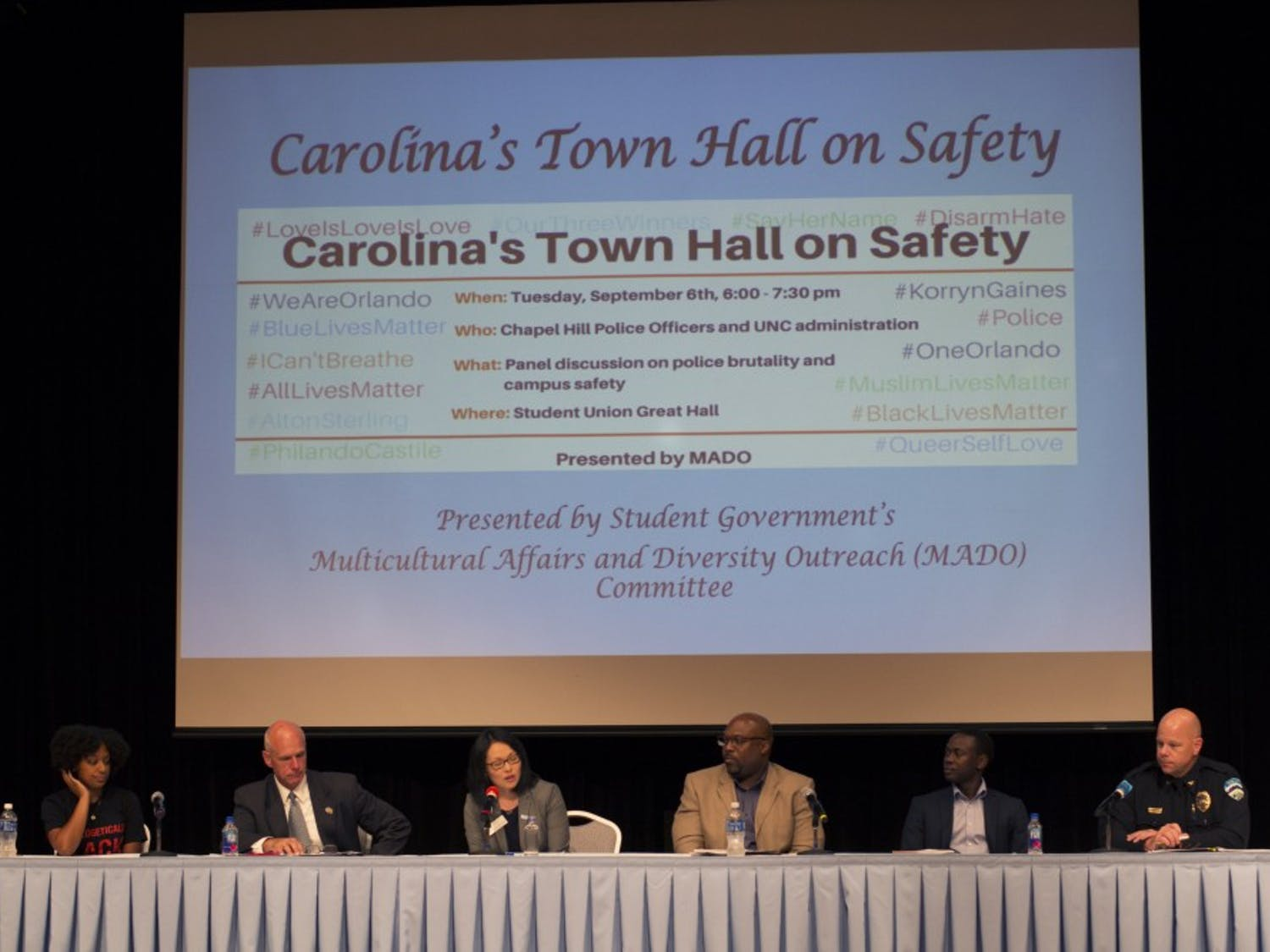 A six-person panel answered questions about police brutality and campus safety on Tuesday in the Student Union.