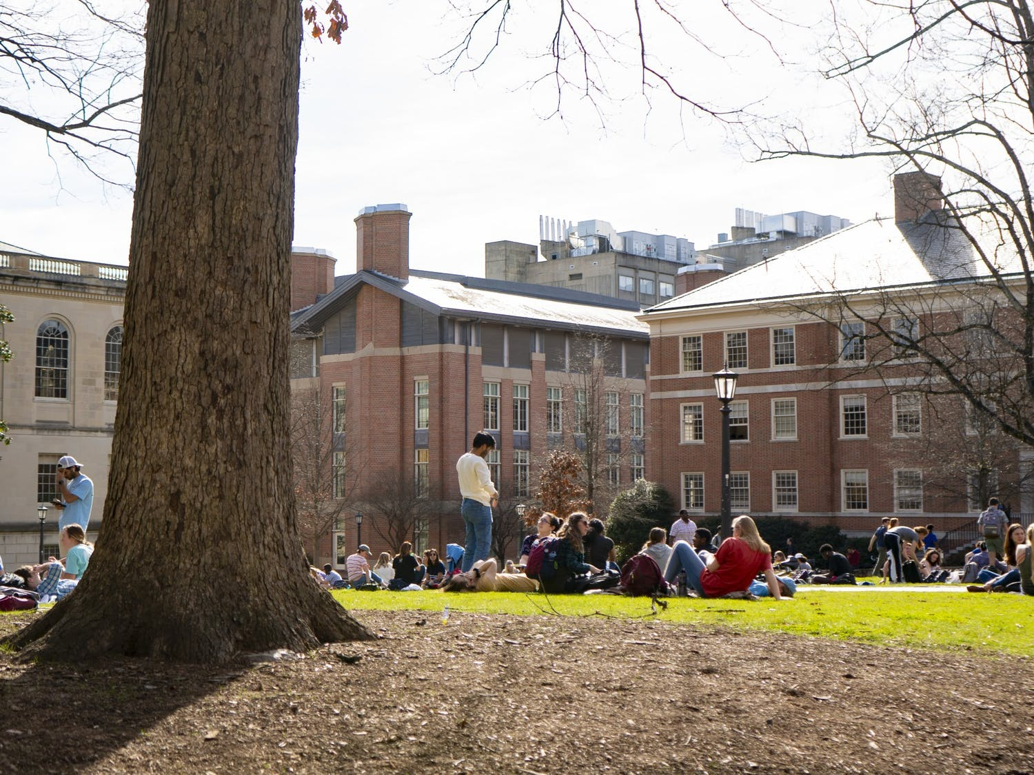 Students sit in Polk Place, or the quad, on Monday, Feb. 3, 2020.