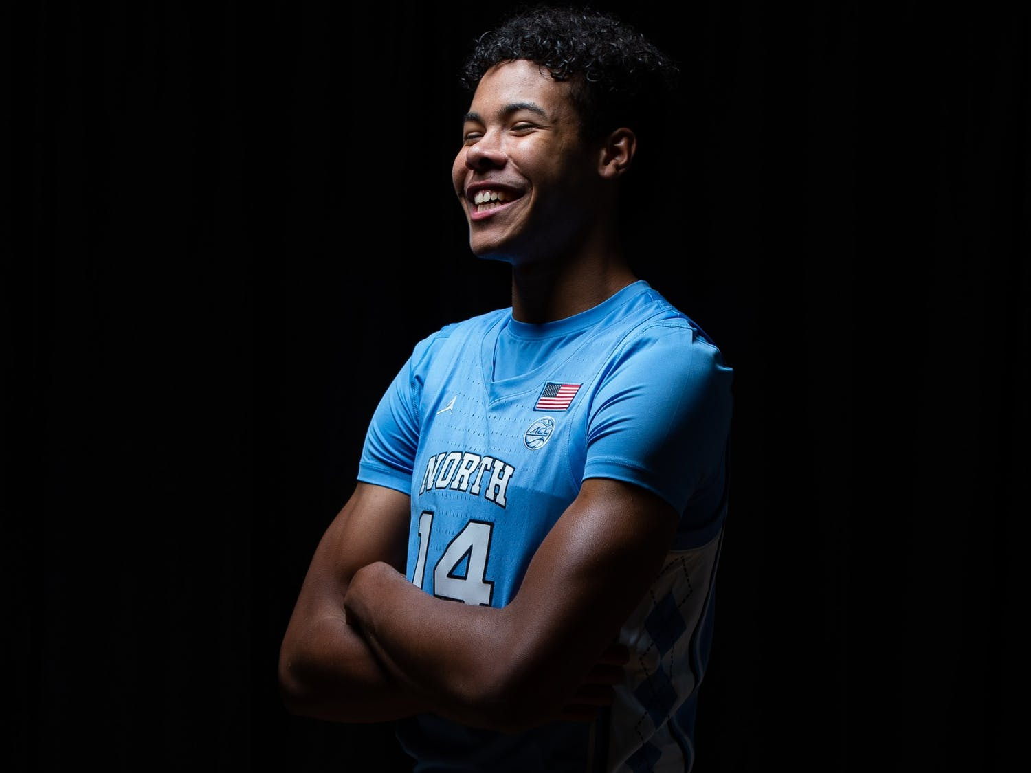 UNC first year guard Puff Johnson poses for a portrait in the Dean Smith Center on Wednesday, October 7, 2020. Photo courtesy of Morgan Pirozzi for UNC Athletic Communications.