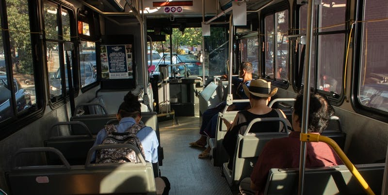 Passengers wait in traffic on the CW Bus during Public Transportation Week on Monday, Sept. 23, 2019. The city of Carrboro kicked off Public Transportation Week to encourage its citizens to learn the bus routes available to them.