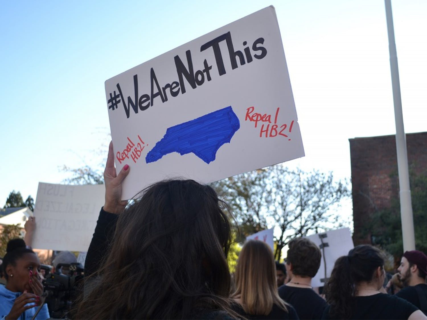"""Hundreds gathered to protest North Carolina's recent passing of House Bill 2 which has been called """"anti-lgbt""""Protesters against House Bill 2 gather in front of the Chapel Hill Post Office in 2017."""
