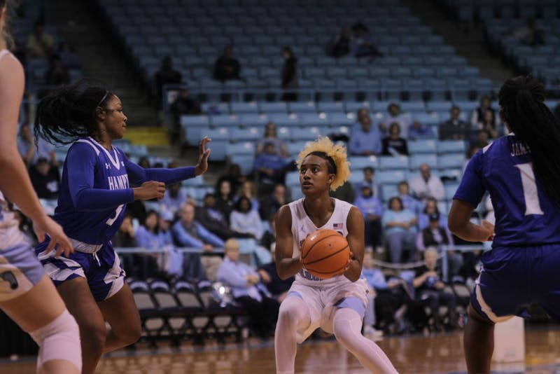 Guard Paris Kea (22) takes a shot against Hampton on Nov. 10 in Carmichael Arena.