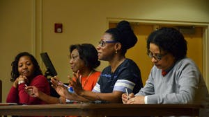 Moderator Kia Caldwell (African, African American, and Diaspora Studies, UNC-CH), along with panelists Pat Parker (Communication, UNC-CH), Keisha-Khan Perry (Africana Studies, Brown), and Sharon Holland (American Studies, UNC-CH) discuss Black Feminism at a colloquium on February 7, 2017.